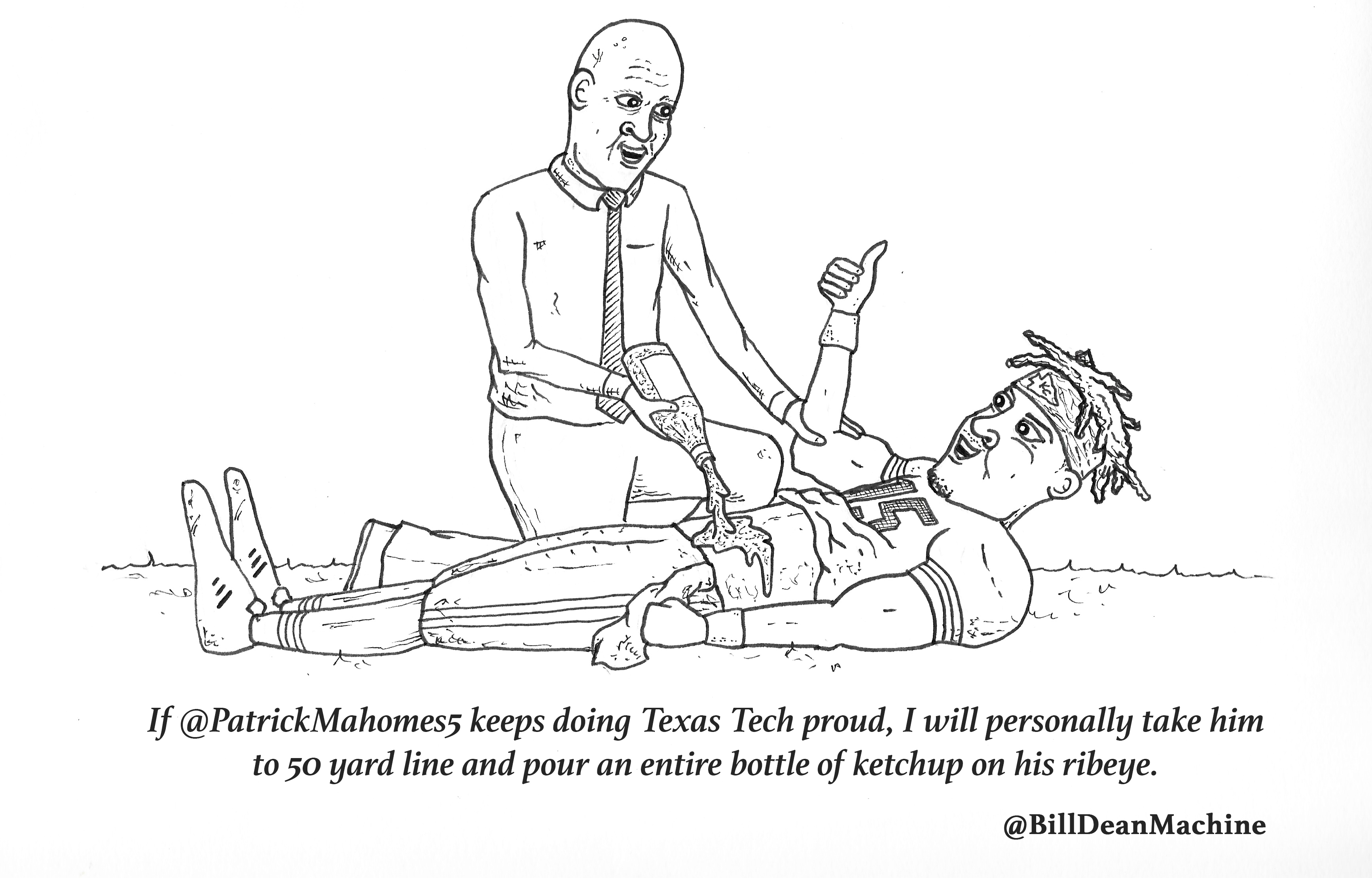 Tweets Illustrated - @BillDeanMachine Pours an Entire Bottle of Ketchup on Patrick Mahomes