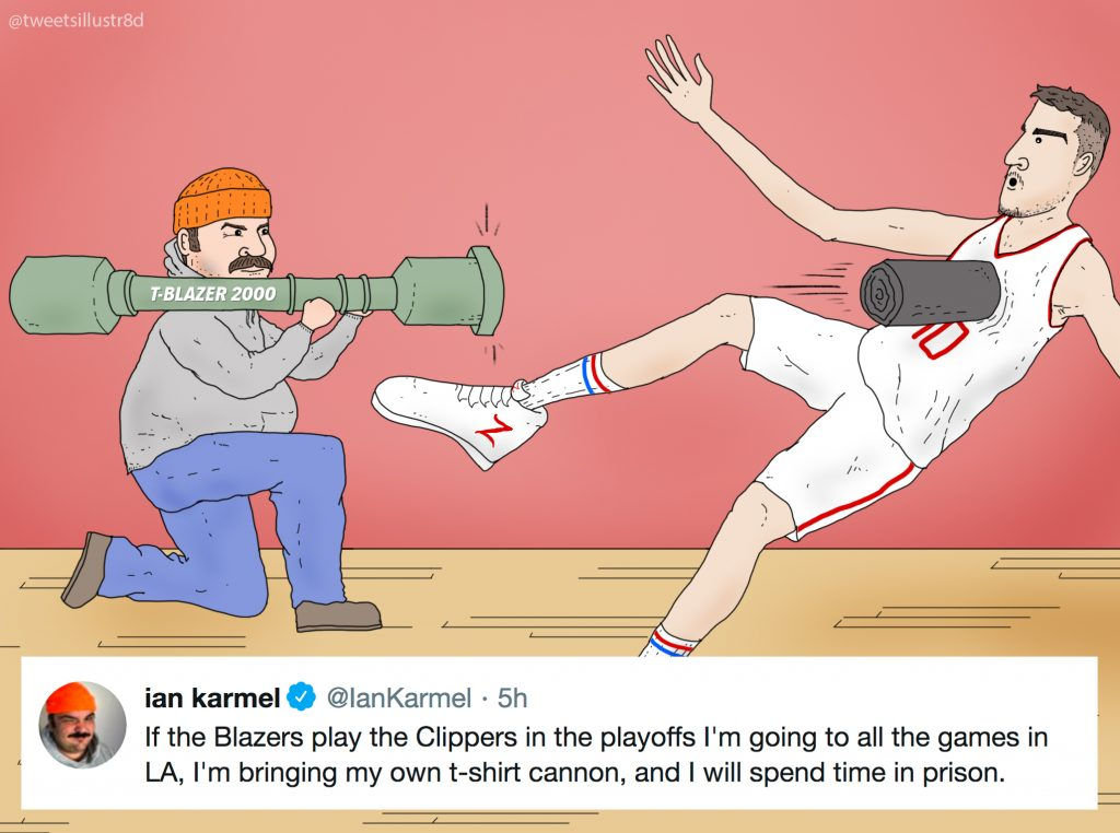 Tweets Illustrated - Ian Karmel Fires T-Shirt Cannon at Ivica Zubac